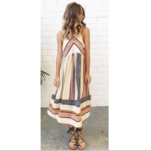 Free People In Bloom Stripe Dress RARE XS chevron